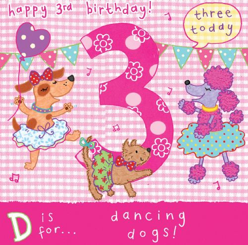 Age 3 Girls Birthday Card< Dancing Dogs TW053
